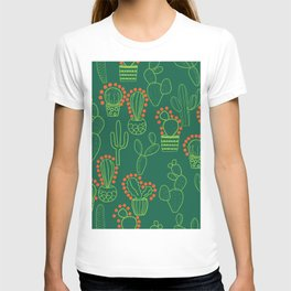 cute cactus pattern with dots T-shirt