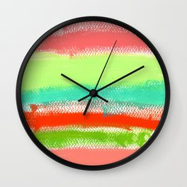 Dream Big typography abstract painting positive quote colorful stripes rainbow inspirational words Wall Clock