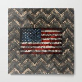 Digital Camo Patriotic Chevrons American Flag Metal Print
