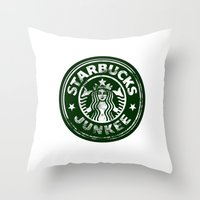 starbucks Throw Pillows featuring Starbucks Junkee by Snorting Pixels