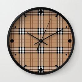 Classic Vintage Brown Check  Tartan Wall Clock