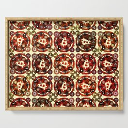 Crypto currency money red pattern Serving Tray