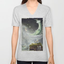 Night. Time of miracles and magic Unisex V-Neck