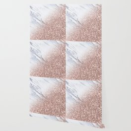 Blush Pink Sparkles on White and Gray Marble V Wallpaper