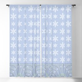 Baby Blue Lace and Stars Blackout Curtain