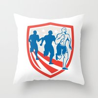 crossfit Throw Pillows featuring American Crossfit Runners USA Flag Retro  by patrimonio