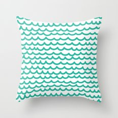 Squiggly Hand Drawn Lines in Mint  Throw Pillow