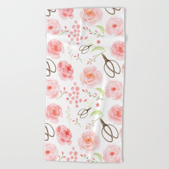 Summer Flowers Flower Floral Pink Vintage Roses #Society6 Beach Towel