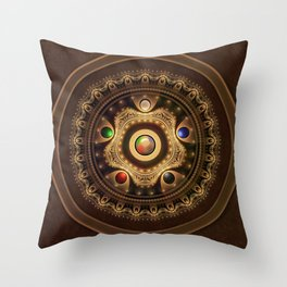 The Five Fractal Jeweled Elements of Qi Gong Throw Pillow
