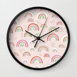 Colorful rainbows magic dreams kawaii sky kids Wall Clock