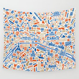 Paris City Map Poster Wall Tapestry