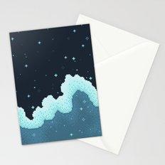 Pixel Snowfall Galaxy Stationery Cards
