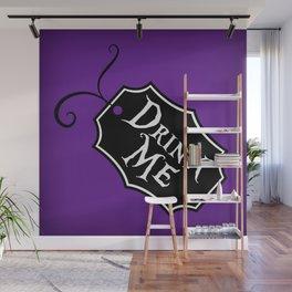 """Drink Me"" Alice in Wonderland styled Bottle Tag Design in 'Shy Violets' Wall Mural"