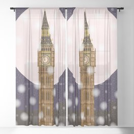 London Christmas Eve Sheer Curtain
