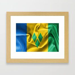 Saint Vincent and the Grenadines Flag Framed Art Print