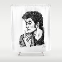 "david tennant Shower Curtains featuring The Doctor - David Tennant - ""Fingers on Lips!"" by ieIndigoEast"