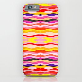 Abstract dramatic graphic and colorful conceptual design pattern of painted wavy horizontal lines  iPhone Case