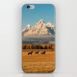 Horses Running in Grand Teton iPhone Skin