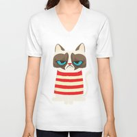 meme V-neck T-shirts featuring Grumpy meme cat  by UiNi