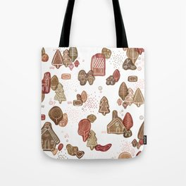Hansel and Gretel Fairy Tale Gingerbread Pattern on White Tote Bag