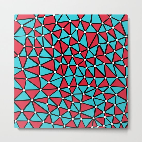 African Triangles Red and Blue Metal Print