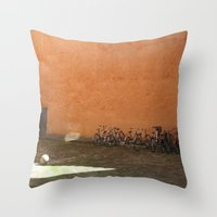 bikes Throw Pillows featuring bikes by Bg portretti