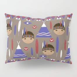 Seamless kids cute American indian native retro background pattern Pillow Sham