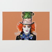 mad hatter Area & Throw Rugs featuring MAD HATTER BY DOCTUS by doctusdesign