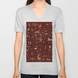 Ancient Egyptian hieroglyphs - Red Leather and gold Unisex V-Neck