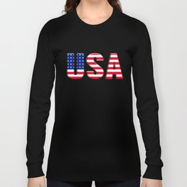 United States Font with American Flag Long Sleeve T-shirt