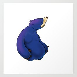 Thoughtful Blue Bear Art Print