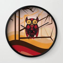 Red Owl at Dusk Wall Clock