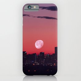 Super Moon City // View of Downtown Denver Colorado Redish Blue Skyline iPhone Case