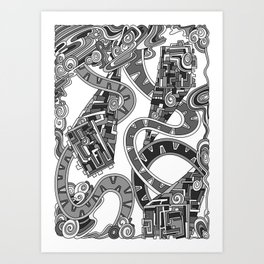 Wandering Abstract Line Art 24: Grayscale Art Print