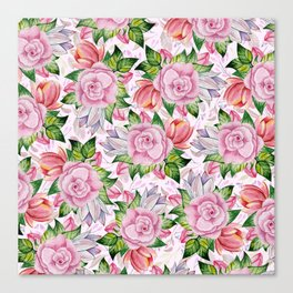 Watercolor pink lavender colorful hand painted roses flowers Canvas Print
