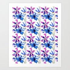 Blue Watercolor Floral Art Print