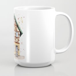 Half-timbered whimsical house in watercolors Coffee Mug