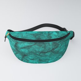 Turquoise crumpled paper background. Fanny Pack