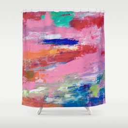 Lucky #13, a contemporary abstract in pinks and fuchsias Shower Curtain