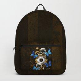 Steampunk Gears and Blue Butterflies Backpack
