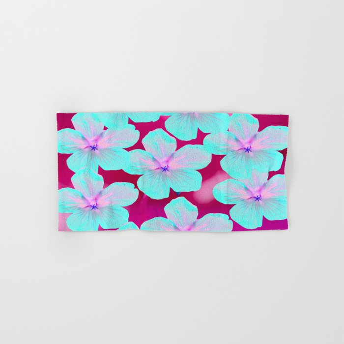 Turquoise Retro Flowers On Pink Background #decor #society6 #buyart Hand & Bath Towel