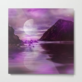 Full Moon over Calm Waters in purple Light Metal Print