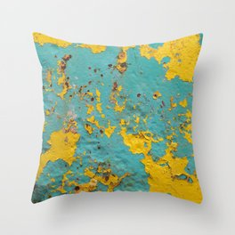 yellow and blue worn paint and rust texture Throw Pillow