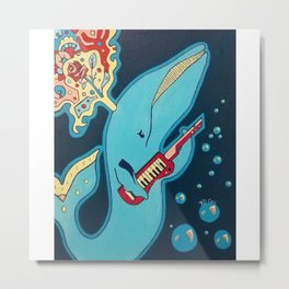 Keytar Whale Metal Print