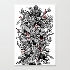Nuclear Ninja Turtles Black and White Canvas Print