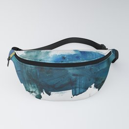 Change: A minimal abstract acrylic painting in blue and green by Alyssa Hamilton Art Fanny Pack