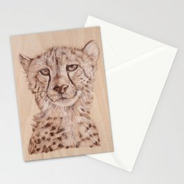 Cheetah - Drawing by Burning on Wood - Pyrography Art Stationery Cards