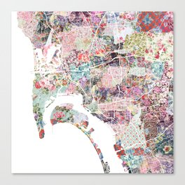 San Diego map flowers Canvas Print