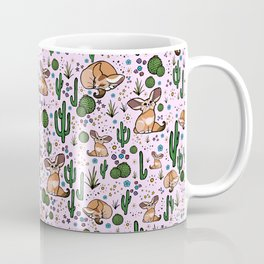 Fennec Foxes in Pink Coffee Mug