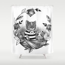 Cat Set Ink 01 Drawings - Cat in Nest Shower Curtain